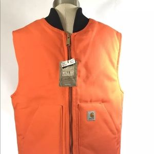 NWT Carhartt Mens Sz M orange duck vest quilt line